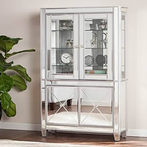 Lighted Curio Cabinets with Glass Doors